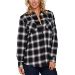 Belle Kim Gravel Magnolia Ombre Buffalo Plaid Top